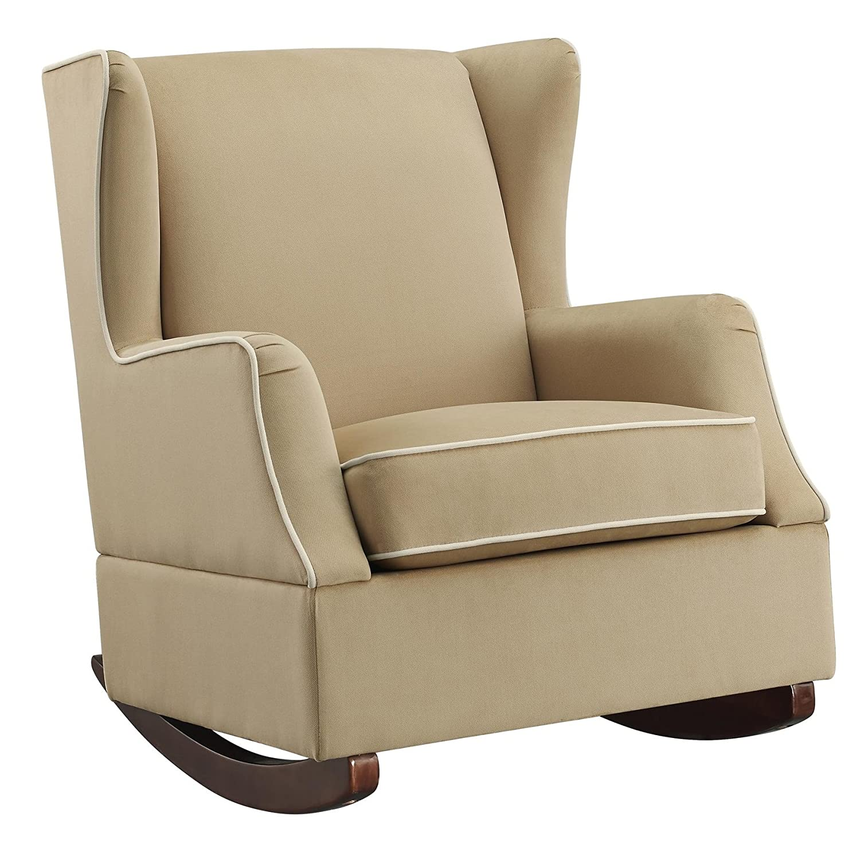 Fantastic Baby Relax Hudson Upholstered Wingback Nursery Room Rocker Camel Beige Evergreenethics Interior Chair Design Evergreenethicsorg