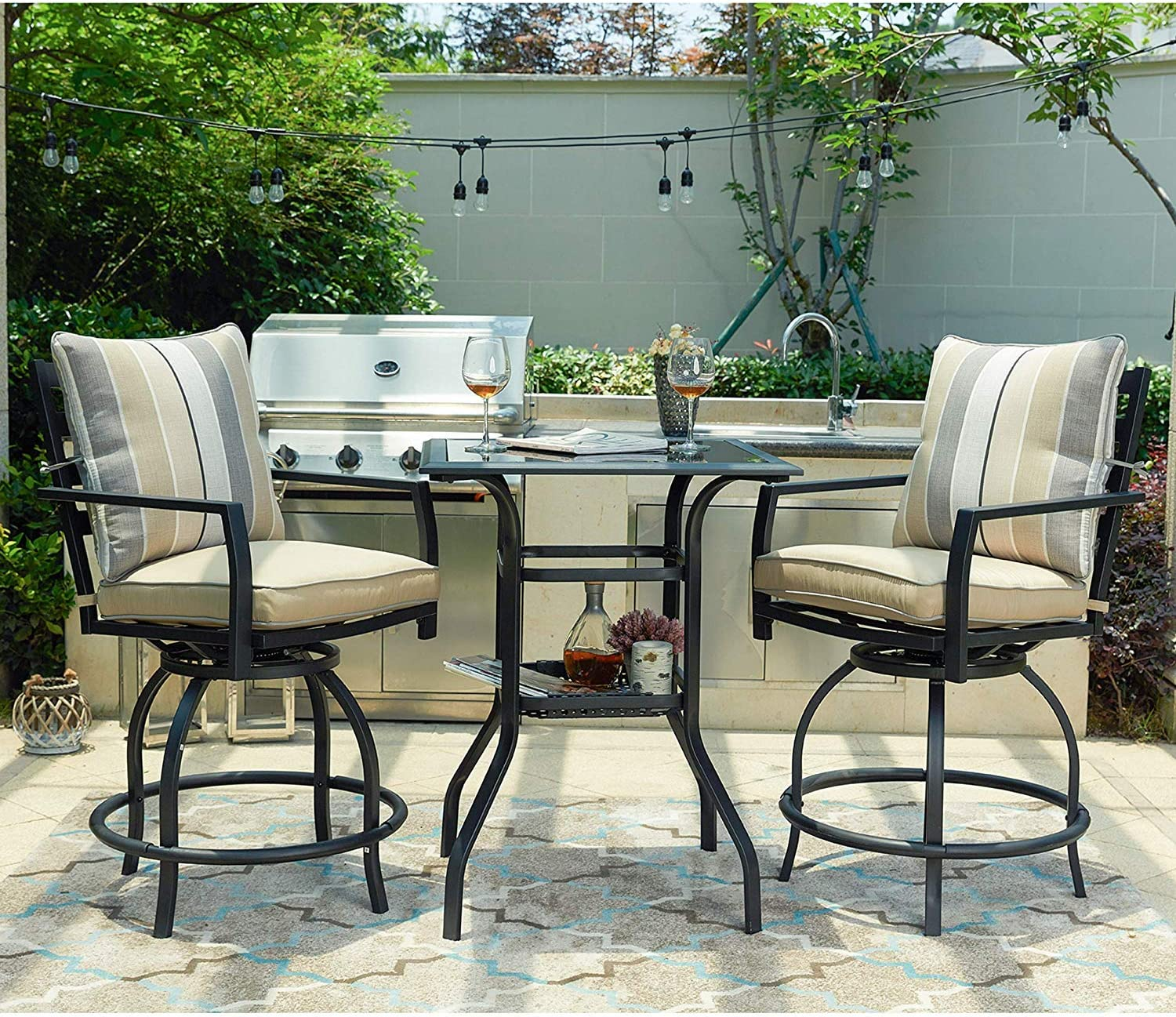 LOKATSE HOME 3 Piece Bistro Set Outdoor Bar Height Swivel with 2 Patio Chairs and 1 Glass Top Table, White Cushions