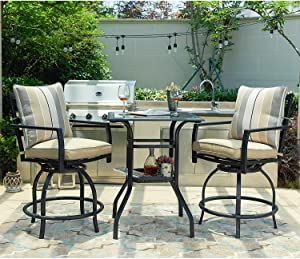 LOKATSE HOME Patio Bar Height Set with 2 Outdoor Swivel Chairs and 1 High Glass Top Table, White Cushion