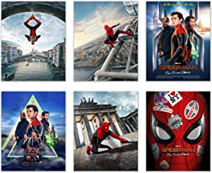 Spiderman Far from Home Poster Prints - Set of 6 (8 inches x 10 inches) Photos - Peter Parker Superhero Movie
