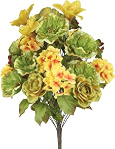 Admired By Nature GPB6328- GD 2 Piece 24 Stems Home Office/Wedding/Restaurant Decoration Arrangement Poppy/Rose/Hydrangea Mixed Flowers Bush, Large, Sage/Gold