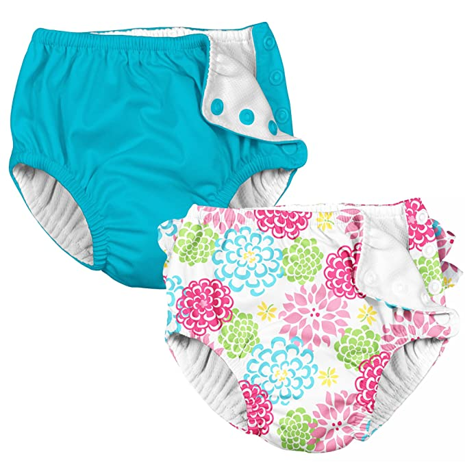 i play 2 Pack Absorbent Toddler Swim Diapers Aqua Blue and White Zinnia Flowers 3T