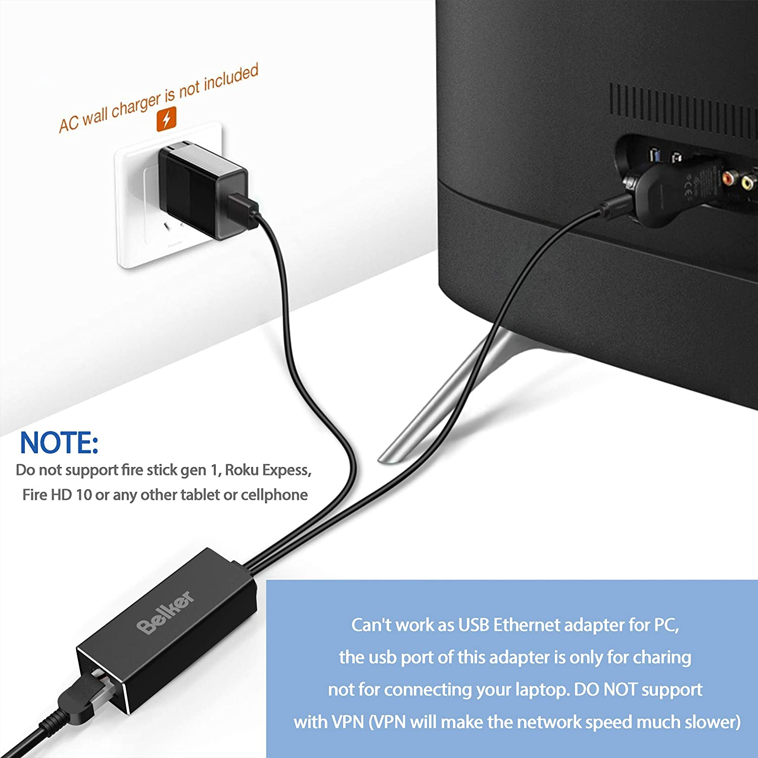 Ethernet Adapter LAN Ethernet Connector USB Adaptor for Connect To ...
