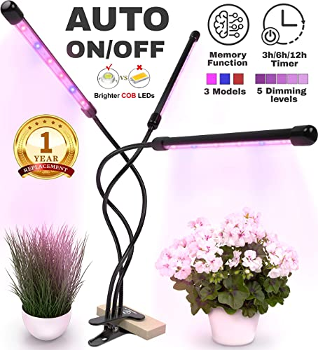 Grow Lights for Indoor Plants – High Powered 36W Plant Light – LED Grow Light Auto On Off Timer – Triple Head Adjustable Grow Lamp – Plant Lights for Indoor Plants – Full Spectrum Grow Light Timer
