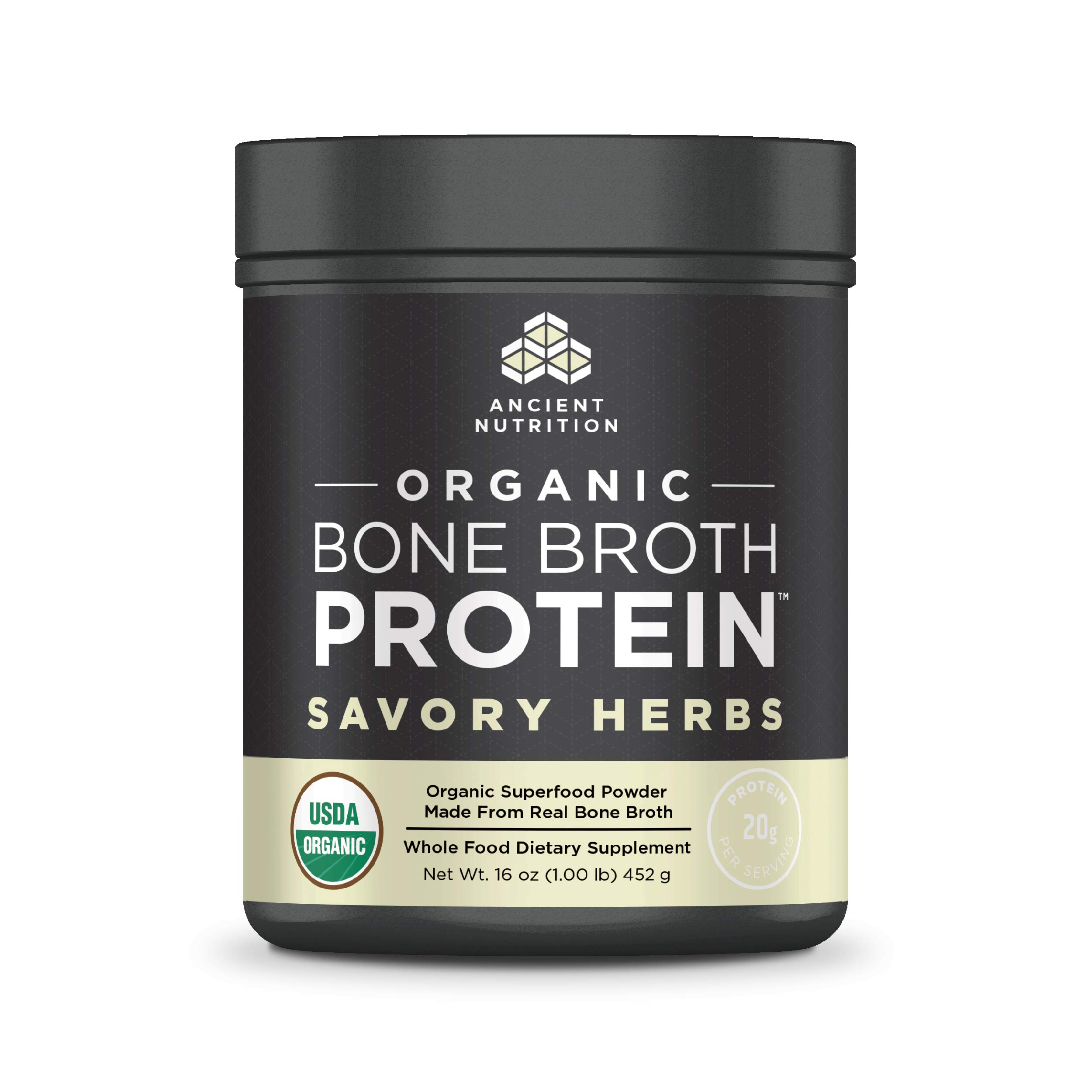 Ancient Nutrition Organic Bone Broth Protein Powder, Savory Herbs Flavor, 17 Servings Size - Organic, Gut-Friendly, Paleo-Friendly by Ancient Nutrition