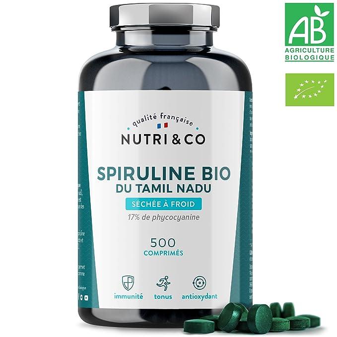 Spiruline Bio AB • 500 Comprimés de 500 mg Purs sans Excipient • 15 à 19% de Phycocyanine • Séchée et Compressée à Froid • Analysée et Conditionnée en France par Nutri&Co ®