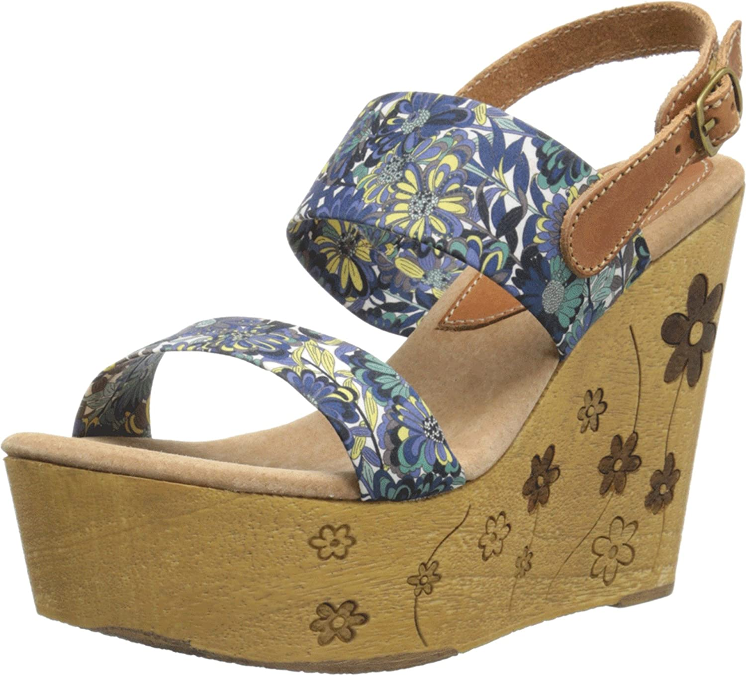 Sbicca Women's Fabiana Wedge Sandal B01AWAX3TM 8 B(M) US|Navy Multi