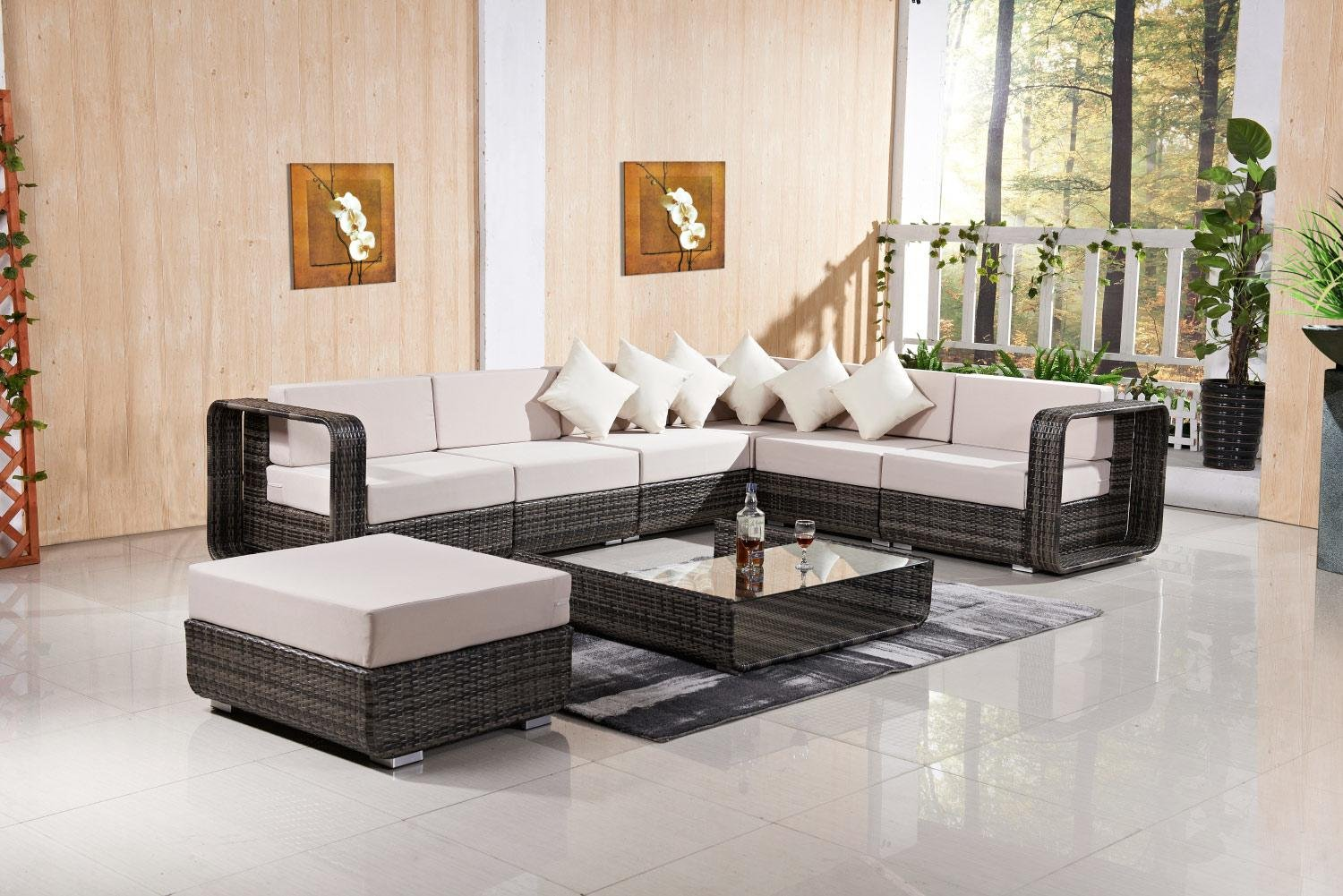 Milo Italia FQ-802-G-LG Patio/Hotel Set with Sectional Sofa, Ottoman and Coffee Table Grey in Brown and Light Grey
