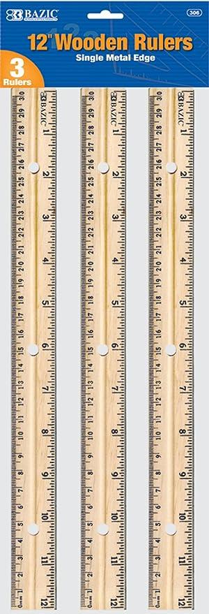 Single metal edge 3 Per Pack BAZIC Wooden Ruler 12 Inch