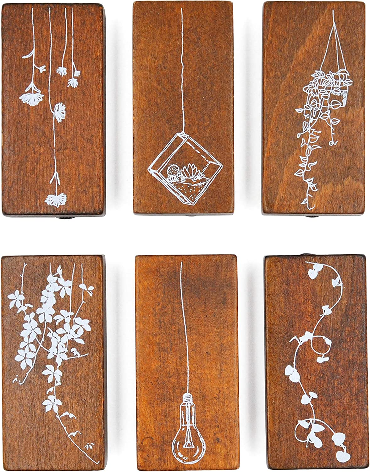 Cliocoo 6 pcs Sky Garden Flower Plant Wood Rubber Stamp Set M-59 (Sky Garden-2)