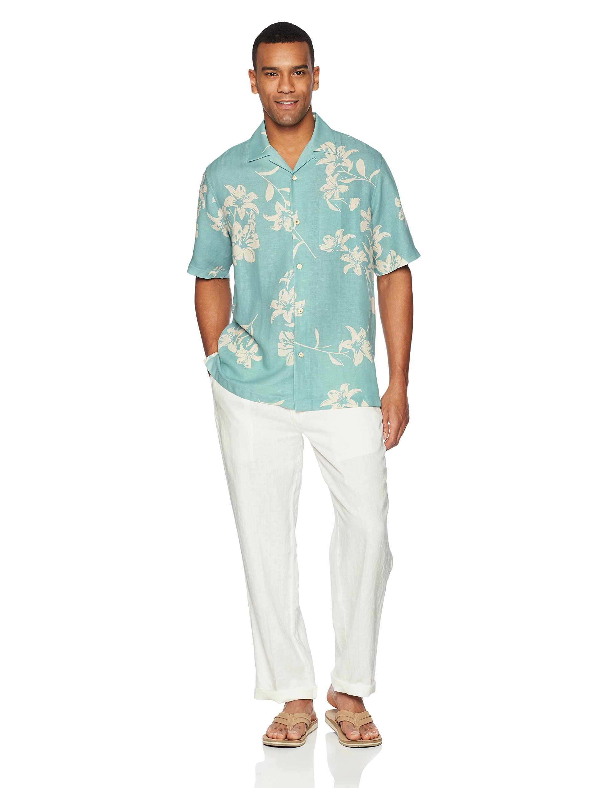aa053baa7d94 28 Palms Men's Relaxed-Fit Silk/Linen Tropical Hawaiian Shirt, Aqua Vintage  Floral, Large - MPM25010-441-L < Casual Button-Down Shirts < Clothing, ...