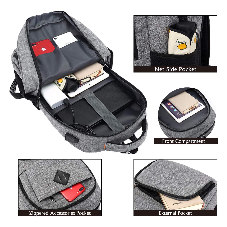 TLT 14 15.6 Laptop Backpack,Slim Waterproof College Bookbag with USB Port-Grey
