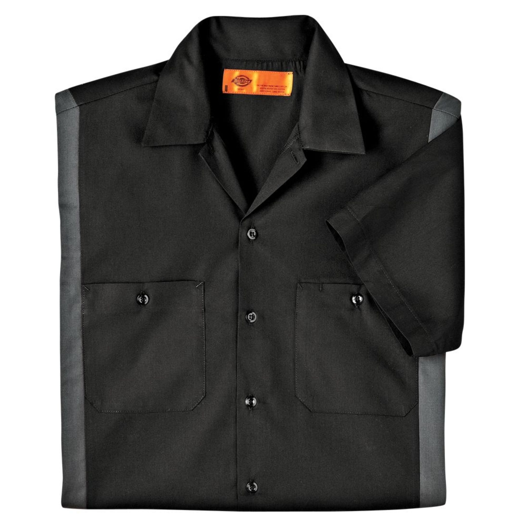 Dickies Occupational Workwear LS524BKCH XLT Polyester/Cotton Men's Short Sleeve Industrial Color Block Shirt, X-Large Tall, Black/Dark Charcoal