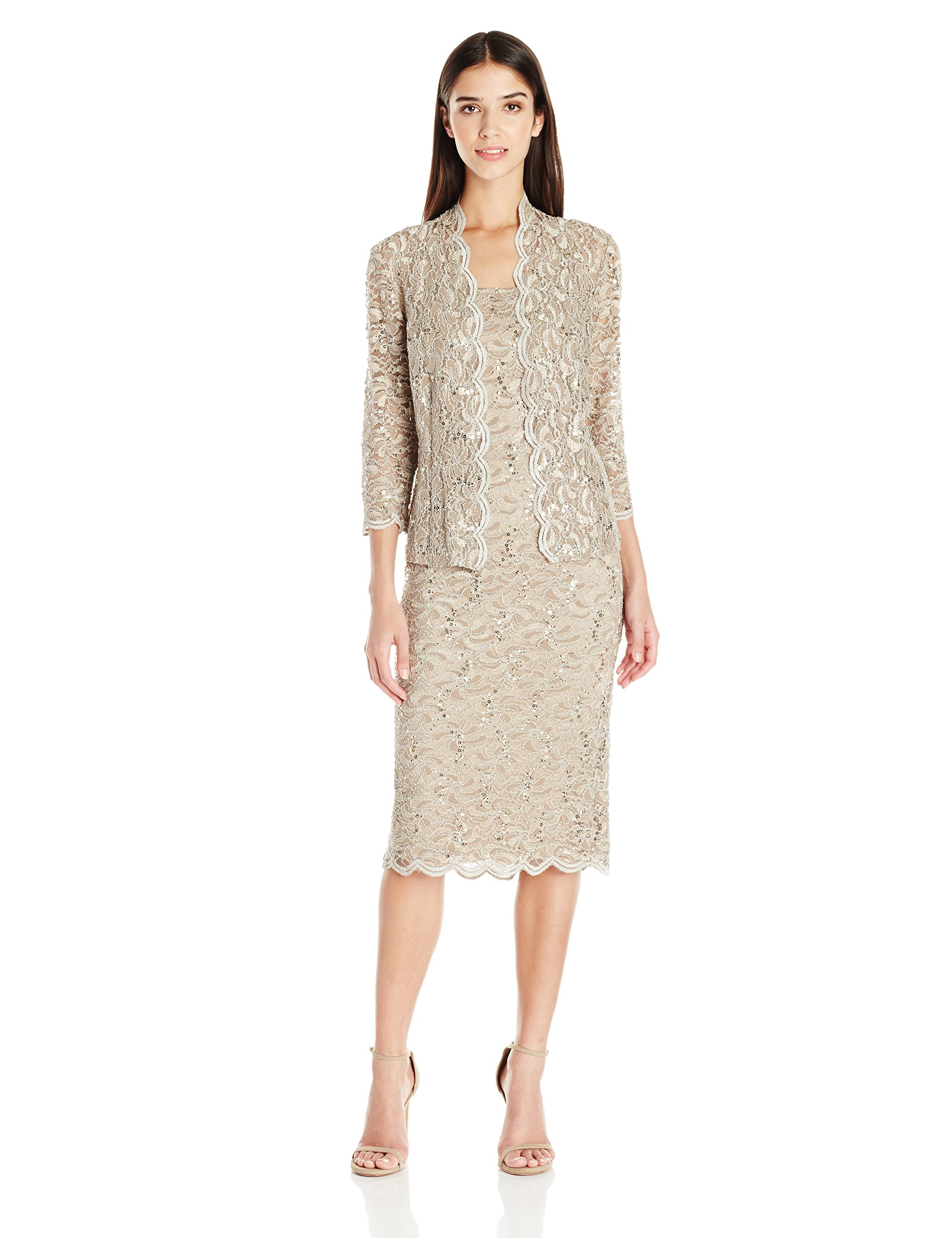Alex Evenings Women's Petite Two-Piece Set With Dress and Jacket (Regular Sizes), Champagne, 16P