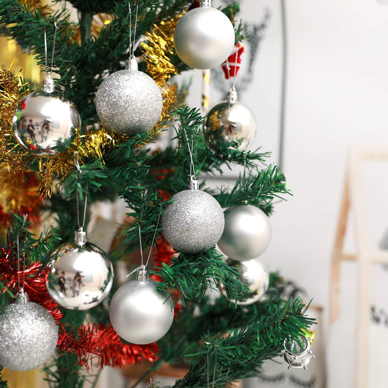GoMaihe Delicate Boules de Noel Rose 24pcs pour Les Festival//Mariage//Fete//Cadeau Decoration de Interieur /à la Maison 6 cm Plastique Incassable de avec Cintre Decorations Noel Sapin