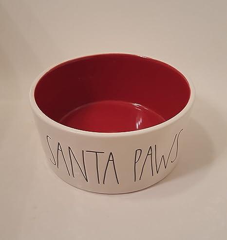 Rae Dunn Christmas Bowls.Rae Dunn Christmas Santa Paws Ll 6 White Ceramic Pet Bowl Red Inside