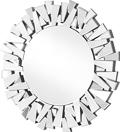 Decor Central Mirror with MDF Frame Contemporary Round 39.5 Clear Finish
