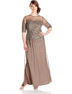 Adrianna Papell Womens Plus Size Floral Beaded Gown With Godets At