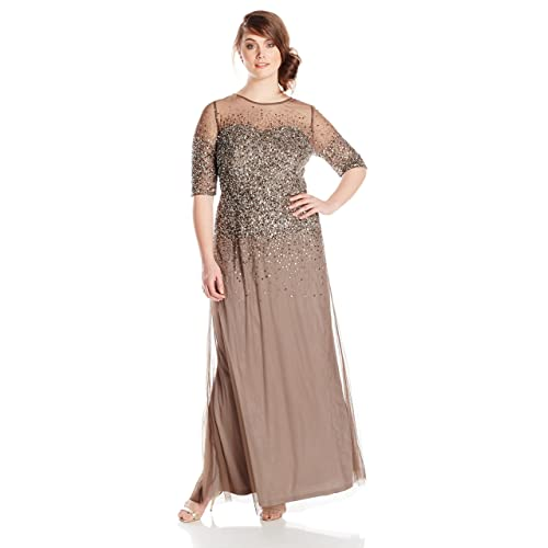 Adrianna Papell Womens Plus-Size Beaded Illusion Gown