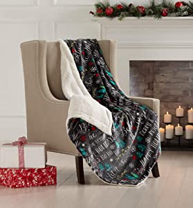 Great Bay Home Super Soft Fleece Sherpa Holiday Throw Blanket - Cozy, Warm Black Believe in Magic Design Blanket. Eve Collection (50