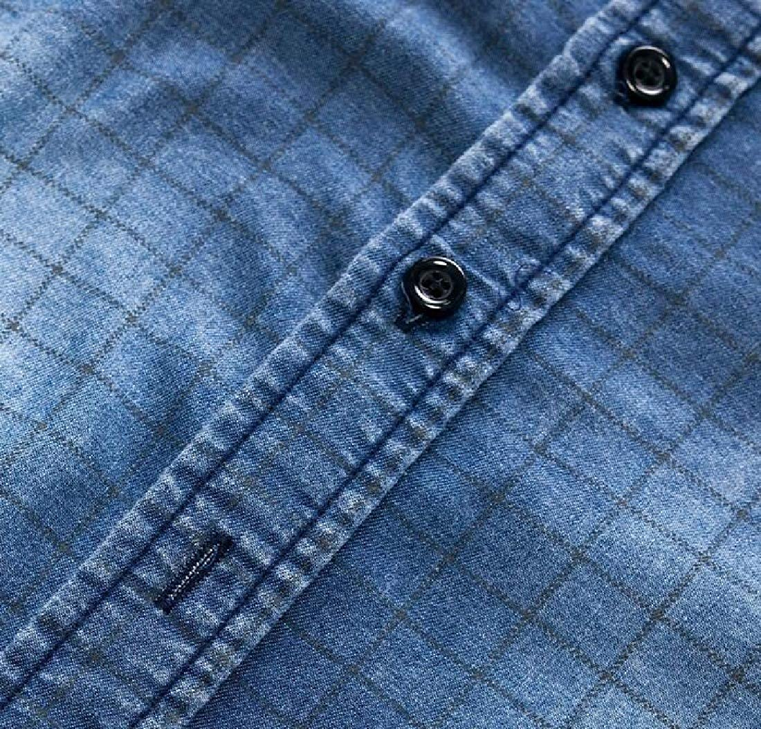 KLJR Men Long Sleeve Casual Button Up Vintage Slim Fit Washed Denim Shirts