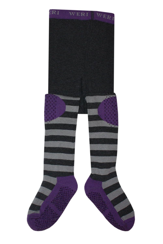 Weri Spezials Unisexe-Bebes ABS Ringlet Collants Violet+Gris