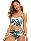 Floerns Women's 2 Piece High Waisted Full Coverage Bikini Swimsuits & Tie Side Vintage Bathing Suits