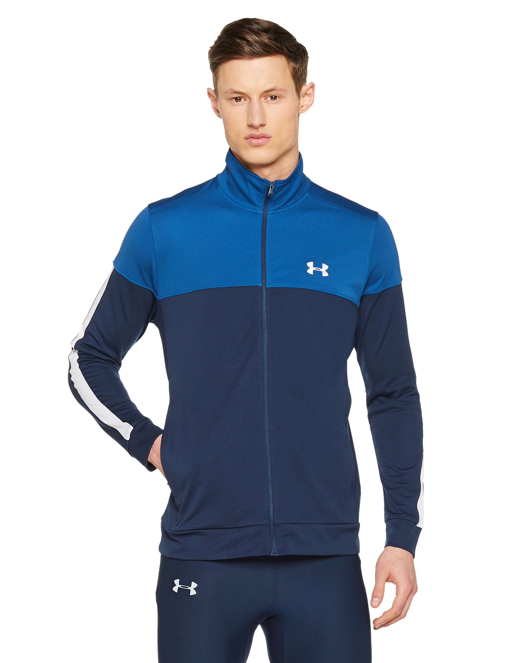 Under Armour Men's Sportstyle Pique Jacket, Academy (408)/White, Medium