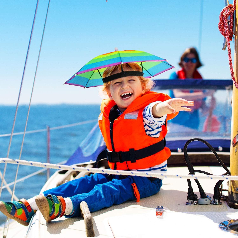 8 Pieces Rainbow Umbrella Hat Umbrella Sun Hat Adjustable Umbrella Hats for Adults Kids Outdoor Fishing Gardening Camping