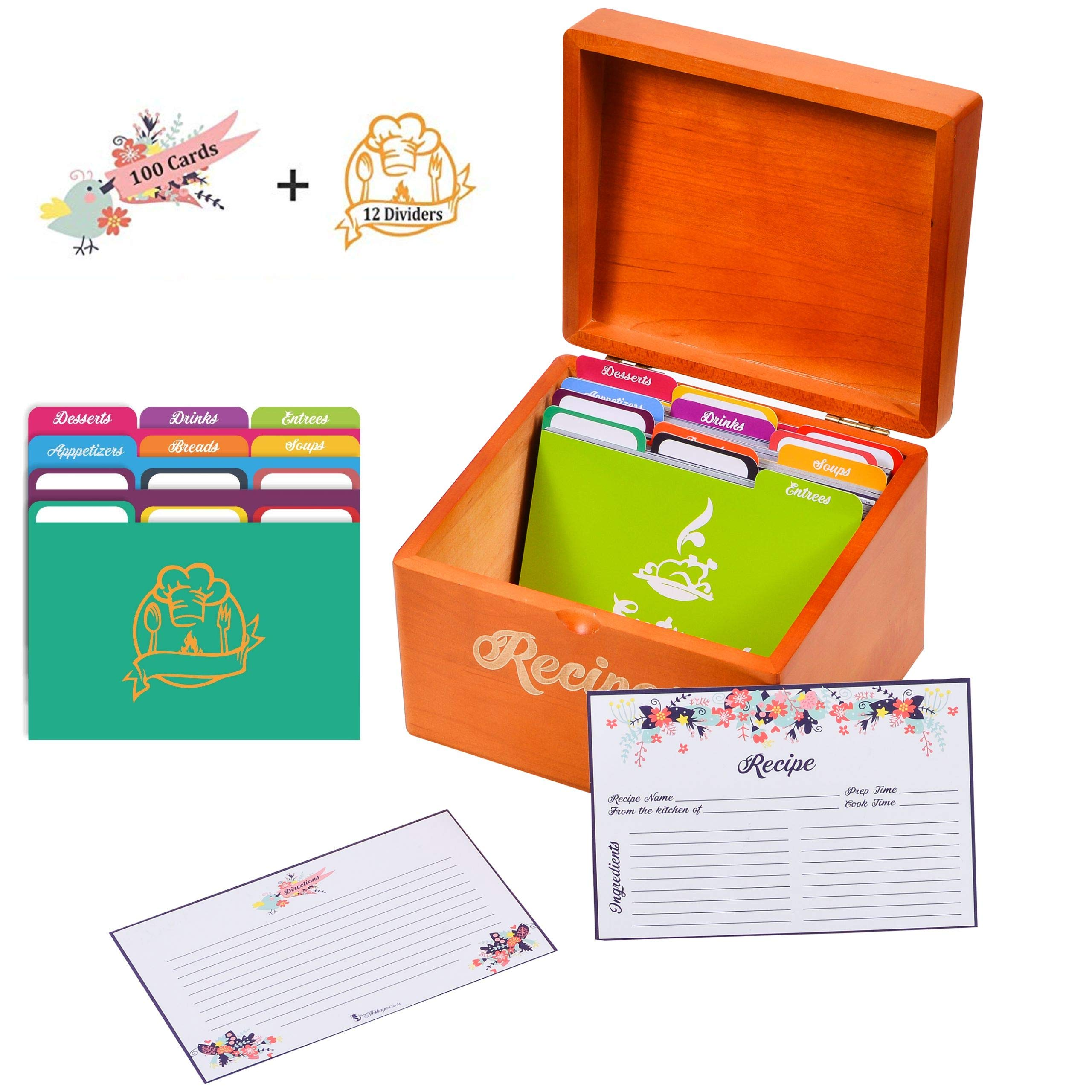 Akshaya Maplewood Recipe Box Gift Set with 100 recipe cards 4x6 and 12 dividers   Perfect gift for Women's Bridal Shower and Weddings