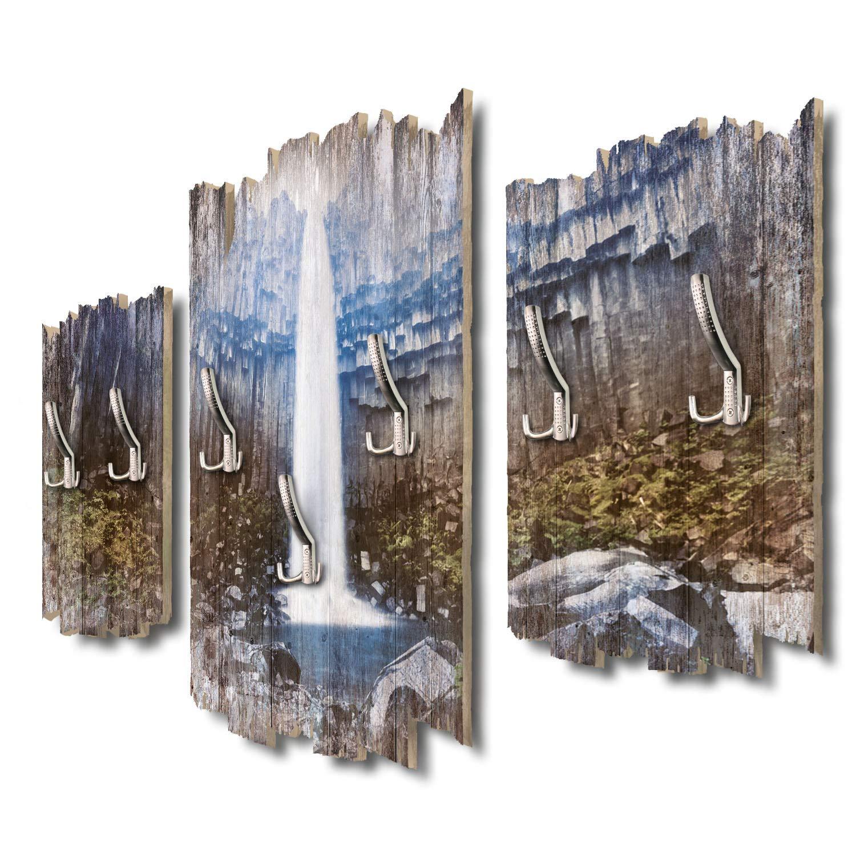 Kreative Feder Svartifoss Wasserfall Island Designer Wandgarderobe Flurgarderobe Wandpaneele 95 x 60 cm aus MDF DTGH036