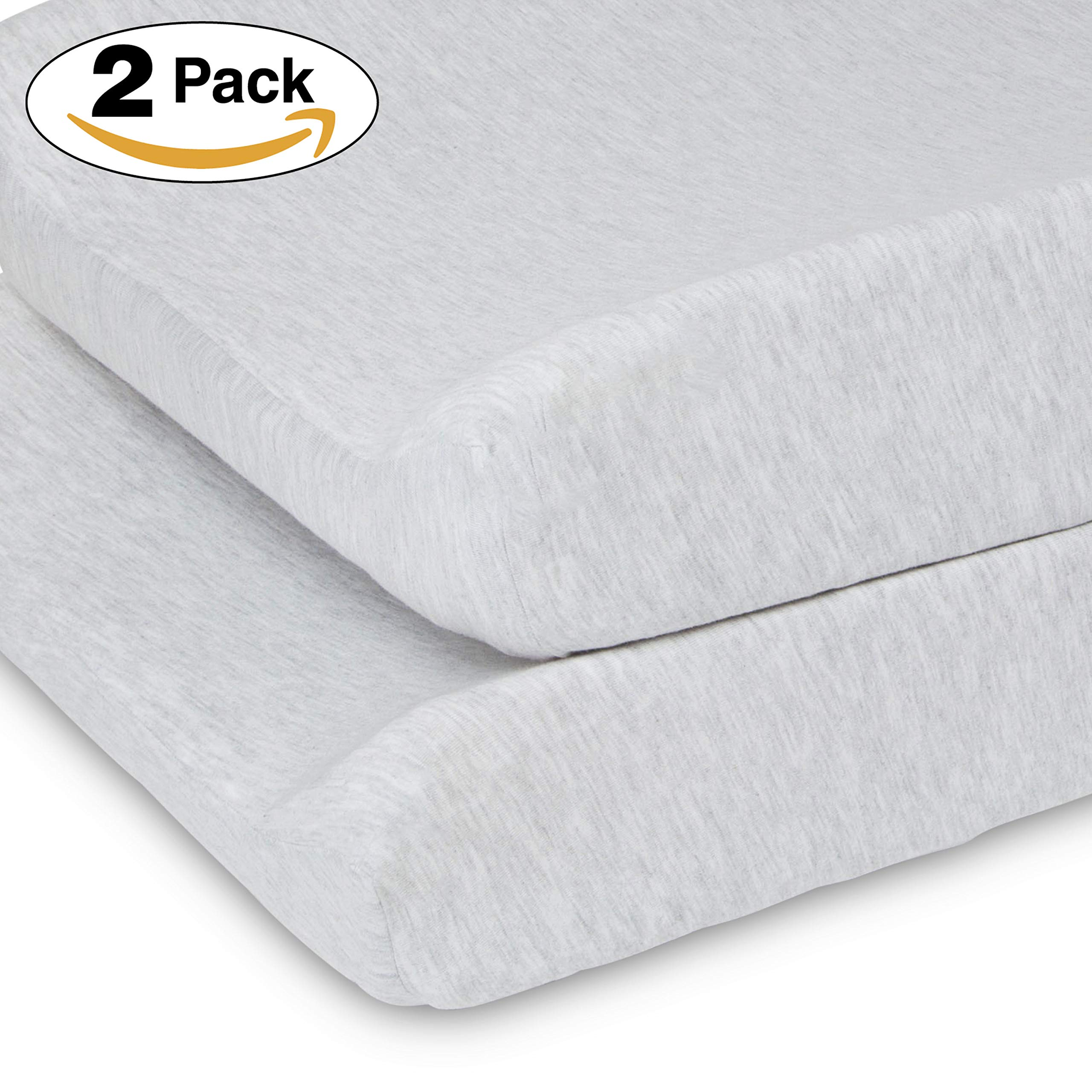 Delta Children Changing Pad Covers - 2 Pack | Solid Color | 100% Jersey Knit Cotton | Fits Standard Changing Pads, Heather Grey by Delta Children