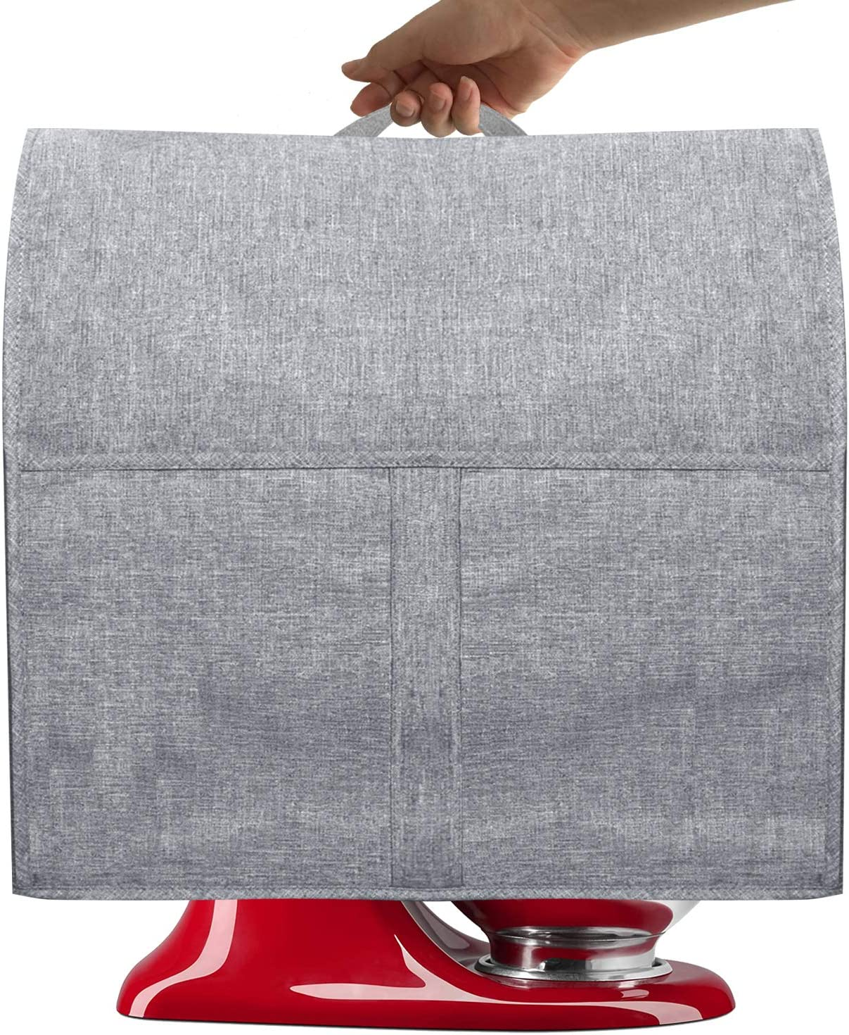Dust Cover with 4.5-5 Quart Mixers, Cloth Cover with Pockets for Mixers and Extra Accessories (Fits for 4.5-Quart and All 5-Quart, Grayish White)
