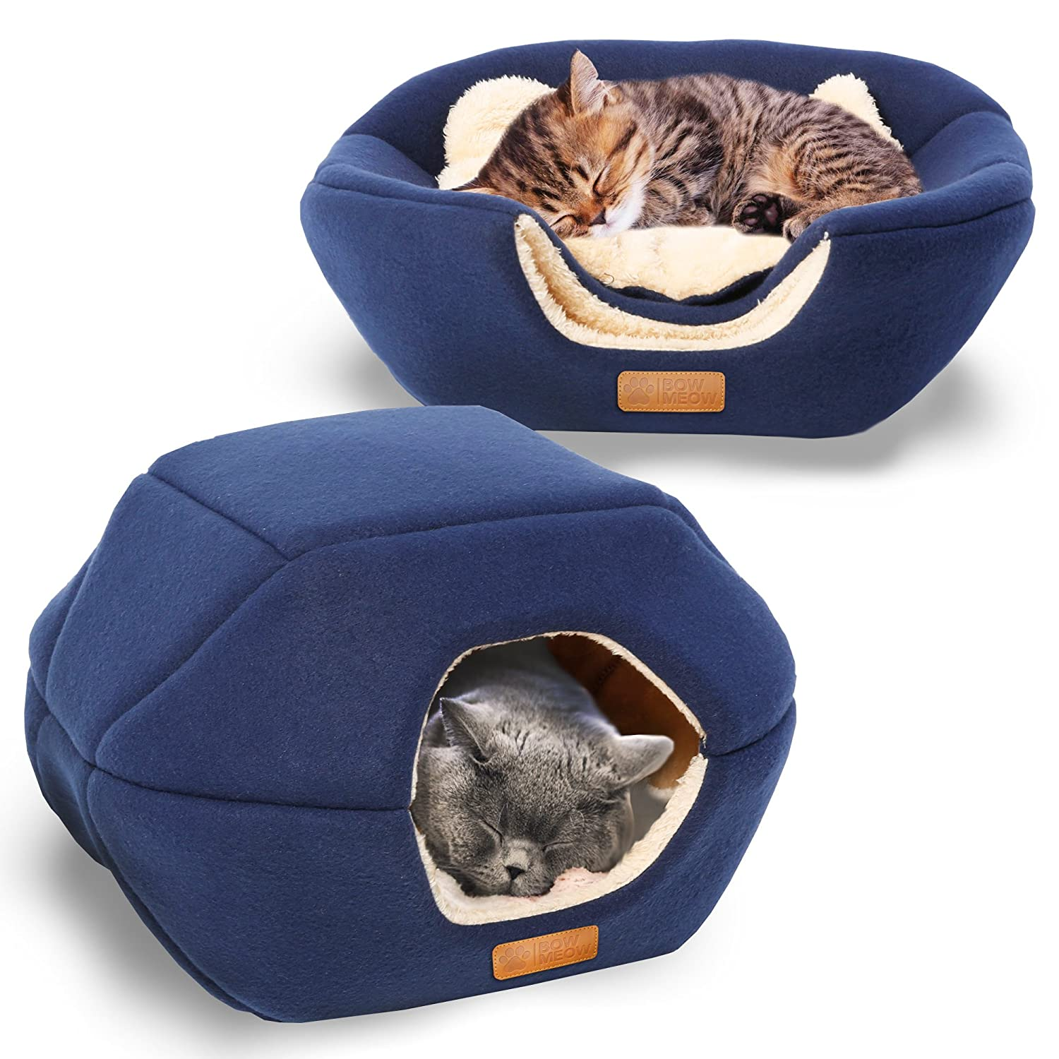 Navy bluee 18\ Navy bluee 18\ Premium Pet Bed Cave, Cat Bed and Cave, Small Dog Bed, 2-in-1 Foldable, Soft, Warm, Washable pet Bed with a Pillow. (18 X16 X14 , Navy bluee)