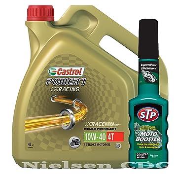 Castrol Power 1 Racing 4T 10 W-40 moto 4 tiempos aceite 4L y STP moto Booster: Amazon.es: Coche y moto