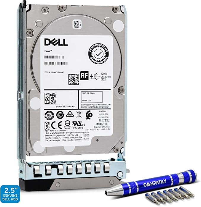 Dell 400-ATJR 1.8TB 10K SAS 12Gb/s 2.5-Inch Internal HDD in 14G Tray for EMC PowerEdge Bundle with Compatily Hard Drive Caddy-Install Screwdriver Kit