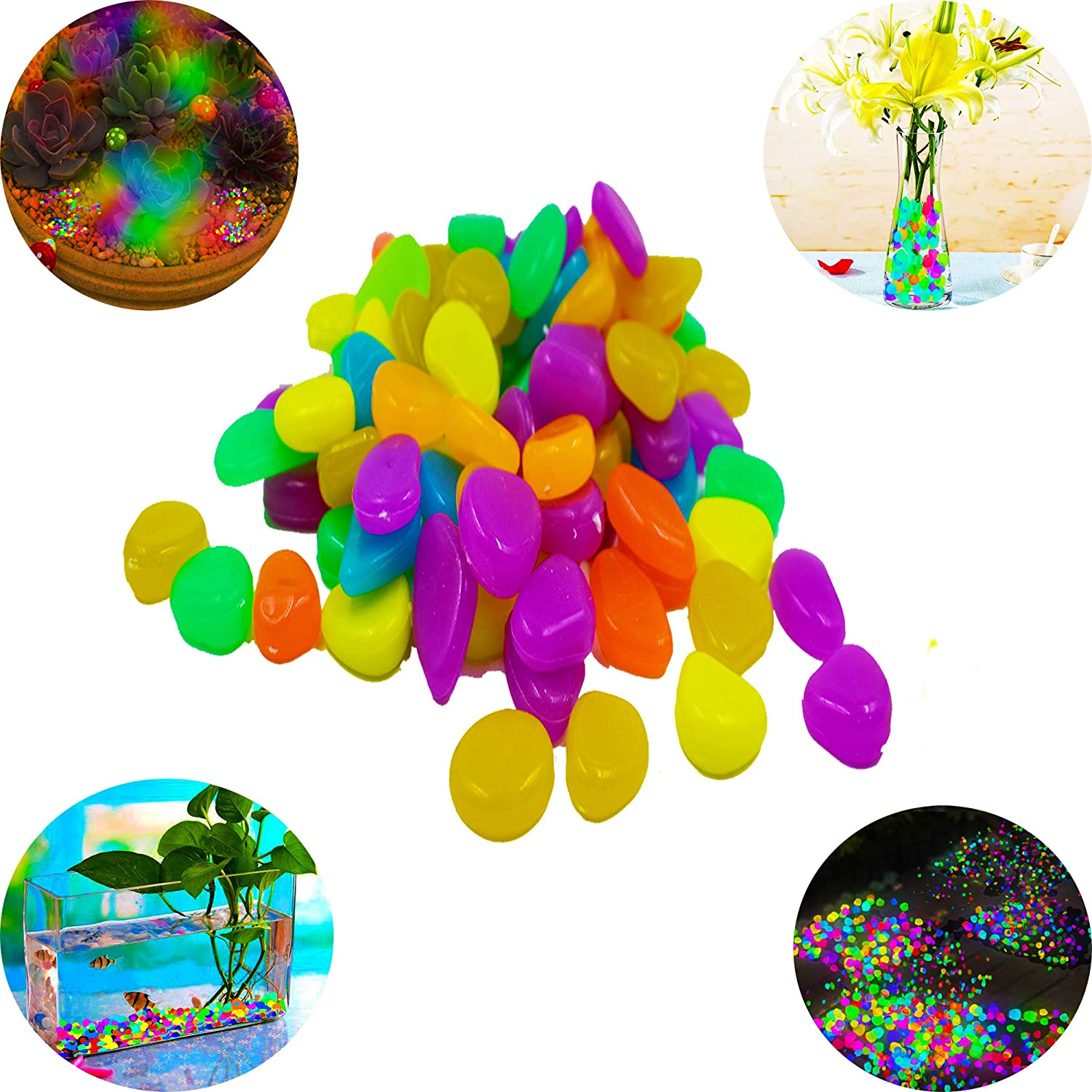 LiXiongBao 100 Pcs Colorful Luminous Stones Glow in The Dark Garden Pebbles Rocks for Home Vase Outdoor Walkways Garden Path Patio Lawn Garden Yard Fish Tank Decor Backyard Driveway Décor (Mix Color)