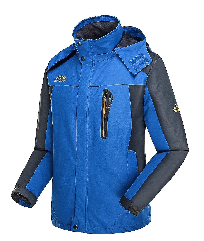 fanhang Mens Outdoor Casual Light Weight Sports Hooded Windproof Jacket Waterproof Rain Coat Size XS-5XL