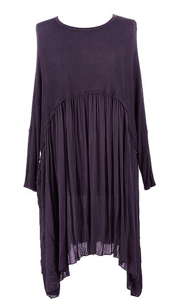 c309c586fdd TEXTURE Ladies Womens Italian Lagenlook Long Sleeve Knit Viscose Swing  Flowy Tunic Dress One Size (Aubergine, One Size): Amazon.co.uk: Clothing