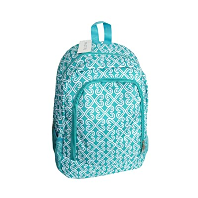 high-quality NBN-17-TO Big Backpack Turquoise white Heart Pattern Design