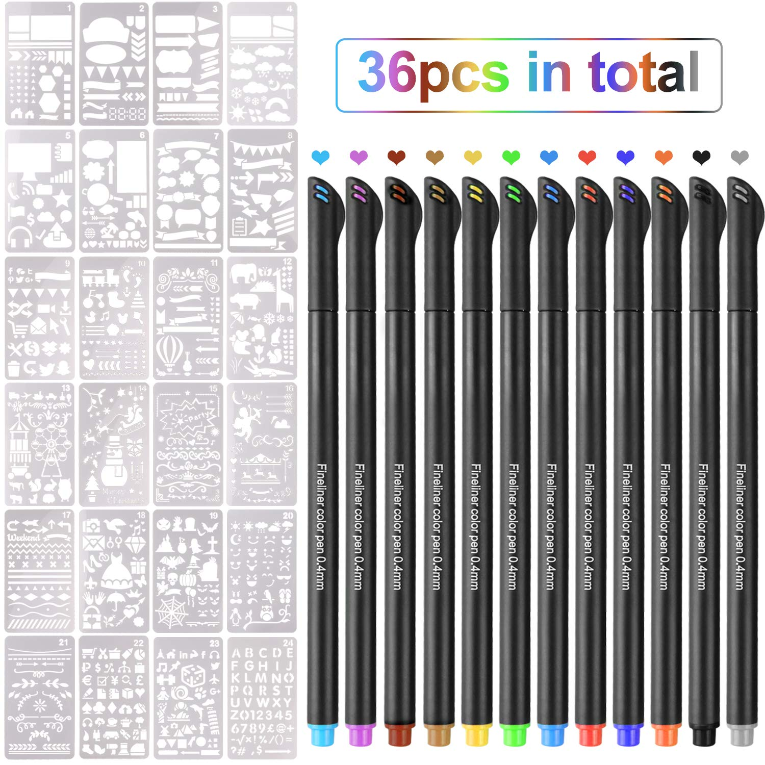 12  fineliner penne colorate con 24  plastica Bullet Gazzetta forniture stencil modelli per DIY disegno Journal notebook diario Gosear
