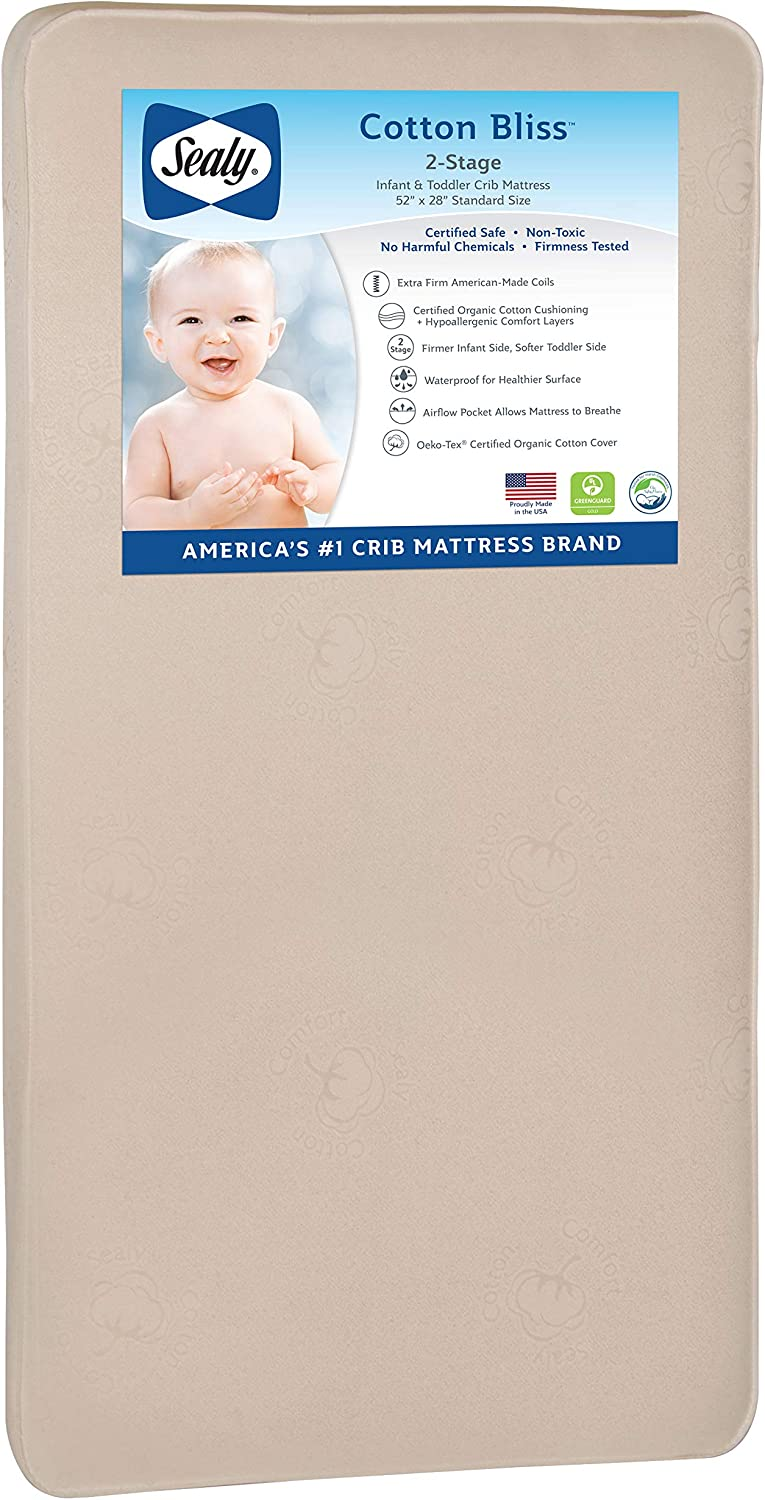 """Sealy Cotton Cozy Rest 2-Stage Toddler /& Baby Crib Mattress Firmer Infant Side Waterproof Cotton Cover Secure Edges Allergy Barrier 51.7/""""x27.3 204 Premium Coils"""