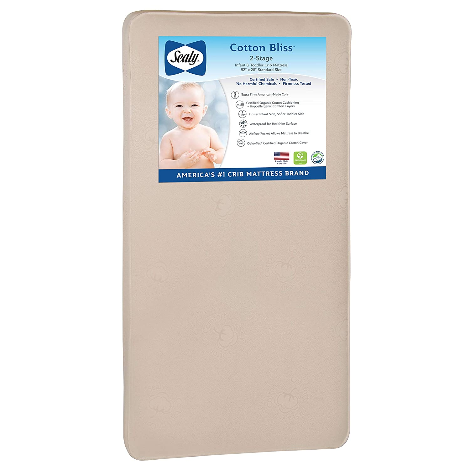 Sealy Nature Couture Cotton Bliss Waterproof 2-Stage Toddler & Baby Crib Mattress