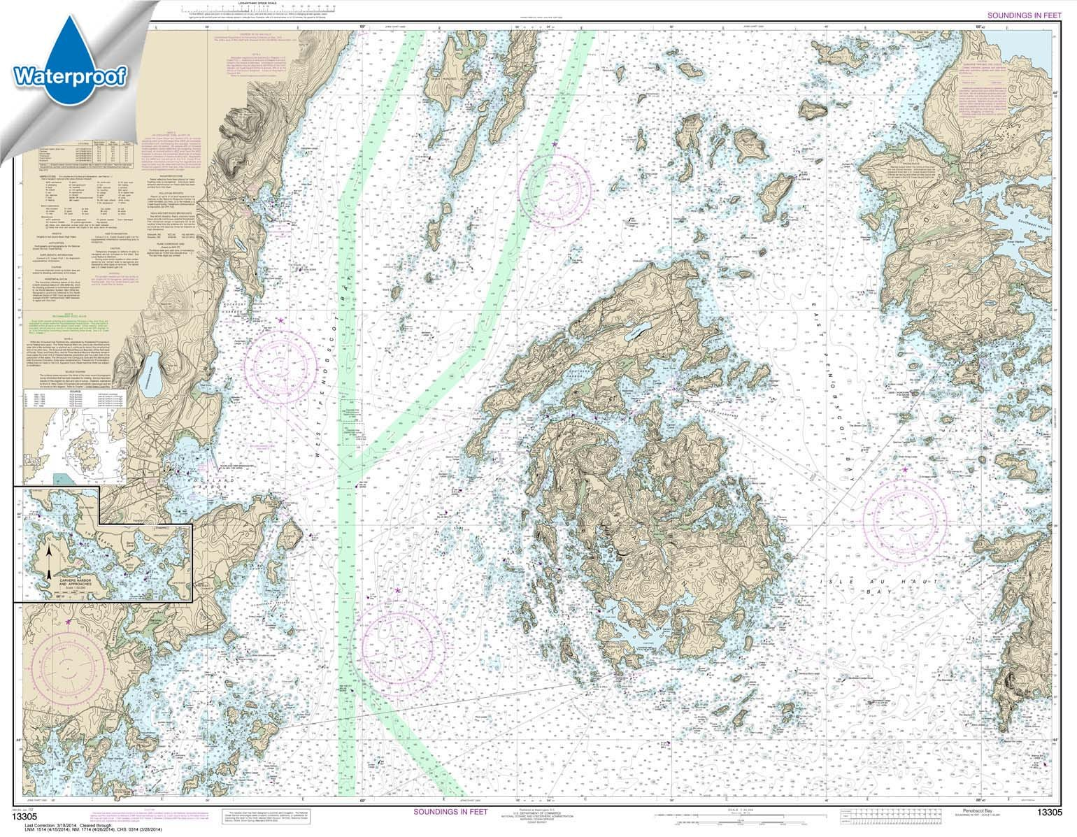 NOAA Chart 13305: Penobscot Bay; Carvers Harbor and Approaches 35.5 x 45.7 (WATERPROOF)