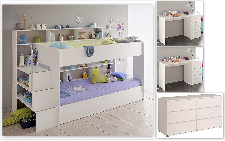 Wohnorama Kinderzimmer-Set 5-TLG inkl 90x200 Etagenbett Kommode u Schreibtische 2er Set Bibop 61 von Parisot Weißs by