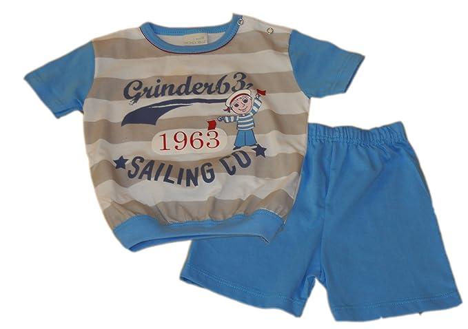 Mondo Blu - Pijama 28-7031 para bebé, 100% algodón, Manga Corta