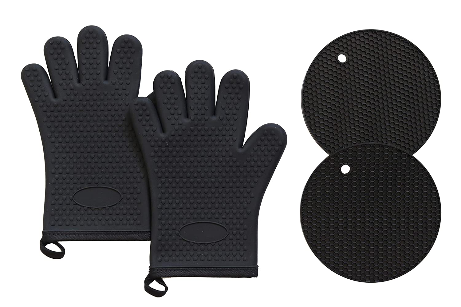 Q's INN Silicone Oven Mitts and Potholders Kitchen Round Trivet Mats | Heat Resistant 450°F | Oven Mitt Non-Slip Textured Grip Pot Holders Set of 2 Gloves and 2 trivets - Black