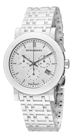 45535b17d58 Image Unavailable. Image not available for. Color  Burberry Women s BU1770  Ceramic White Chronograph Dial Watch