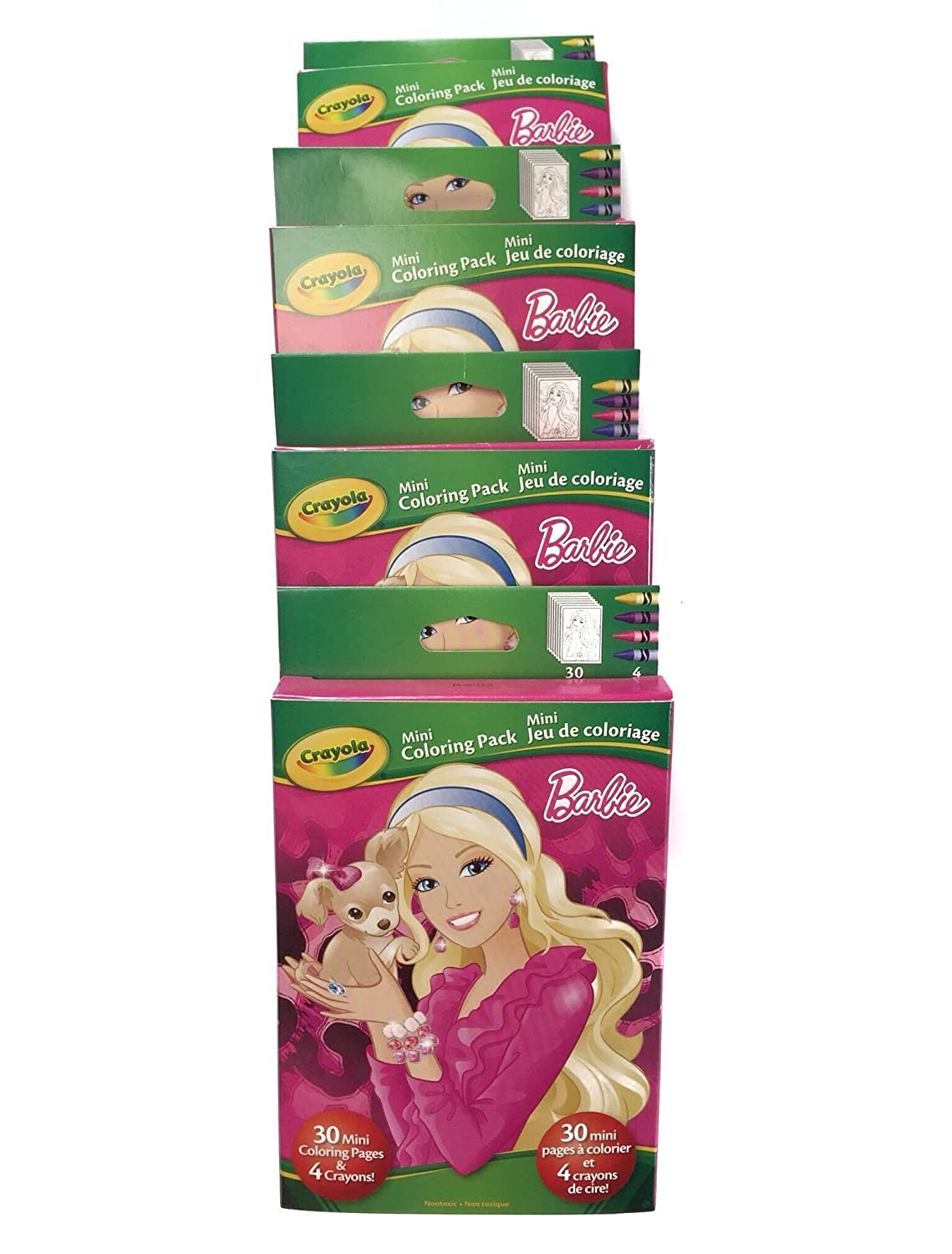 Amazon.com: 4 Pack Crayola Barbie Mini Coloring Pages 4 Crayons ...
