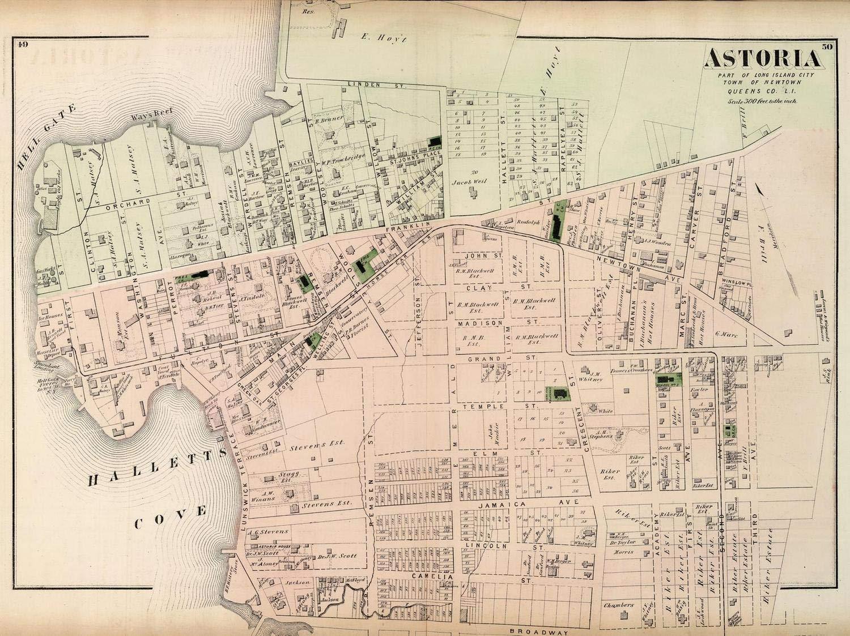 Amazon.com: Historical 1873 Beers Map of Astoria, Queens, New York on